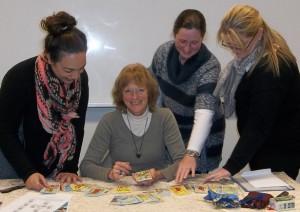 Psychic reader teaching Tarot class